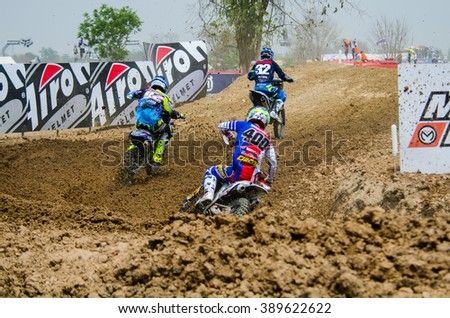 SUPHANBURI - MARCH 06 : Yamamoto Kei #400 with Honda Motorcycle in competes during the FIM MXGP Motocross Wolrd Championship Grand Prix of Thailand 2016 on March 06, 2016 in Suphanburi, Thailand. - stock photo