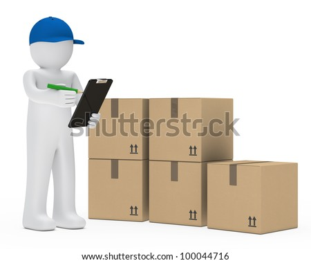 supplier figure with cap make signs package - stock photo