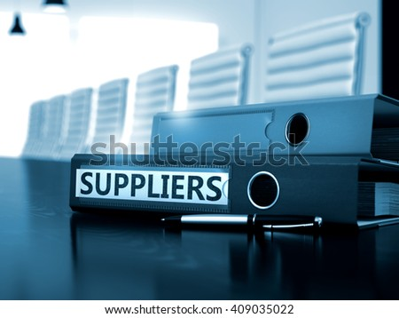 Suppliers - Business Concept on Toned Background. Suppliers - Business Illustration. Suppliers - Ring Binder on Working Desk. Toned Image. 3D Rendering.  - stock photo
