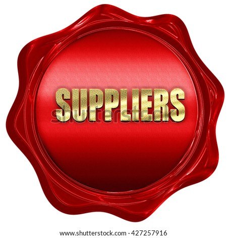 suppliers, 3D rendering, a red wax seal - stock photo
