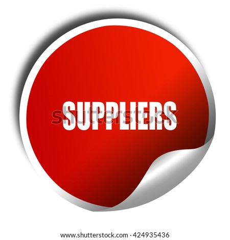 suppliers, 3D rendering, red sticker with white text - stock photo
