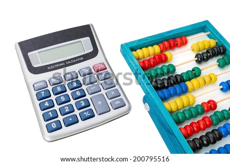 Supplies accountant, calculator and abacus. On a white background. - stock photo