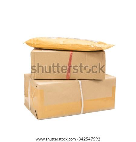 supplies mailbox on white background - stock photo