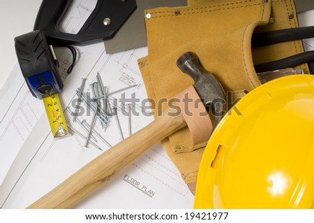 supplies of a construction worker or a handy man - stock photo