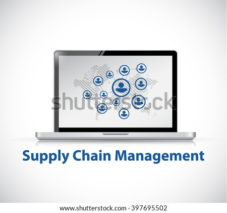 supply chain management computer network illustration design graphic - stock photo