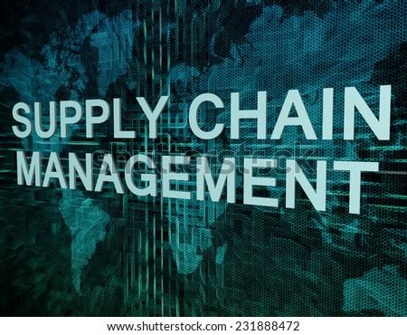 Supply Chain Management text concept on green digital world map background  - stock photo