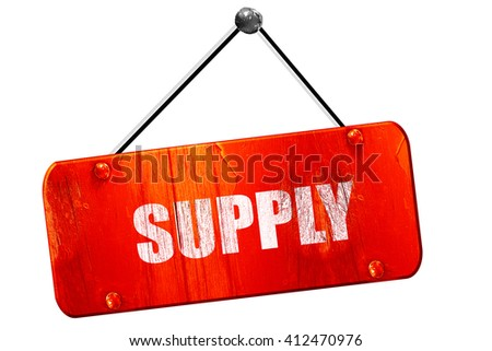 supply, 3D rendering, vintage old red sign - stock photo