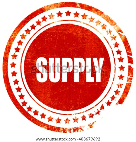 supply, grunge red rubber stamp on a solid white background - stock photo