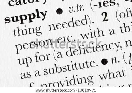 Supply word dictionary definition closeup