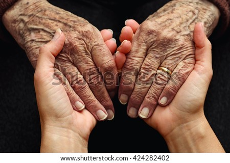 Support and care for the elderly - stock photo