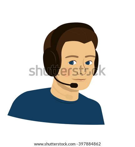 support brunette boy with headphones - call center - stock photo
