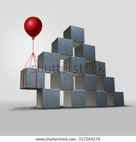 Support business solution concept as a group structure of three dimensional blocks in danger of falling with a key piece supported by a balloon as a corporate financial symbol for solving a problem. - stock photo