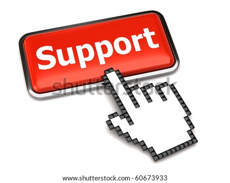 Support button and hand cursor - stock photo