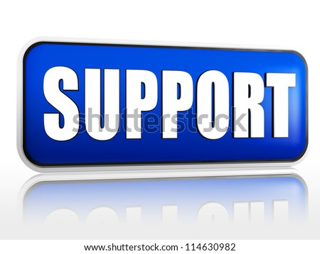 support 3d blue banner with white text - stock photo