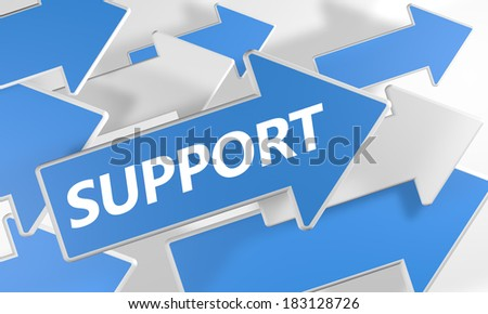 Support 3d render concept with blue and white arrows flying over a white background. - stock photo