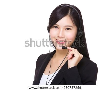 Support hotline worker - stock photo
