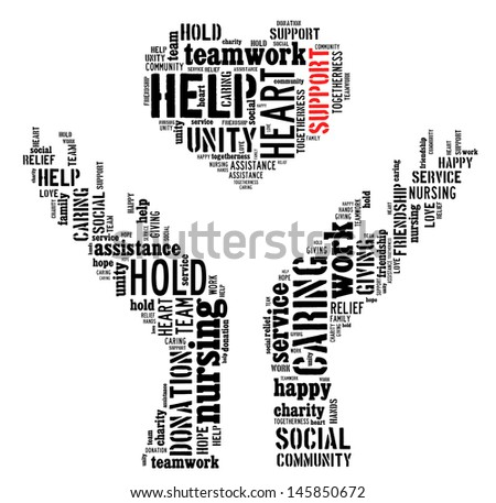 Support info-text graphic and arrangement concept on white background (word cloud) - stock photo