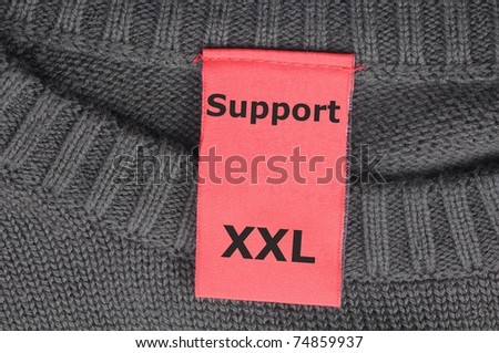 support or help concept with fashion tag