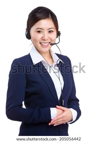Support phone operator - stock photo