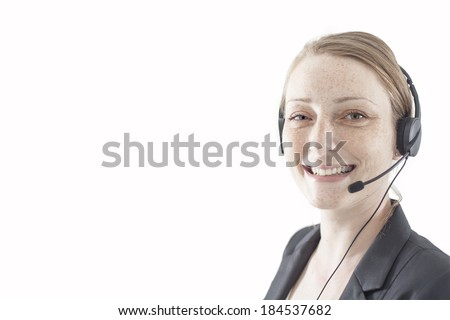 Support phone operator in headset in white  - stock photo