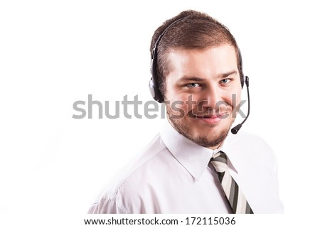 Support phone operator in headset, isolated on white background - stock photo