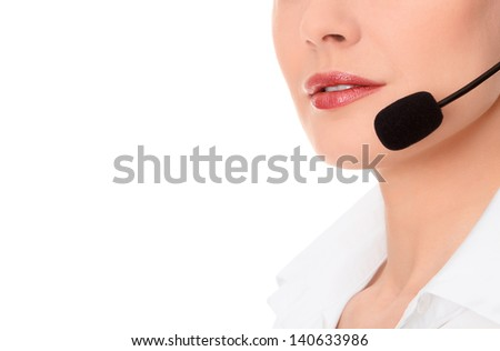 Support phone operator in headset, isolated on white, copyspace - stock photo