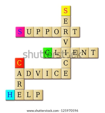 Support service crossword puzzle isolated in white. - stock photo
