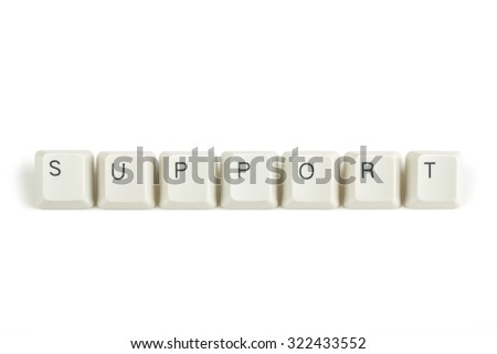 support text from scattered keyboard keys isolated on white background - stock photo