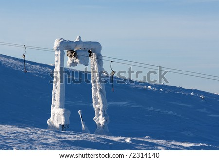 support the ski lift in the snow against the blue sky