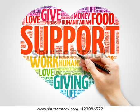 Support word cloud, heart concept - stock photo