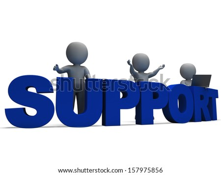 Support Word Showing Assistance Service And Help