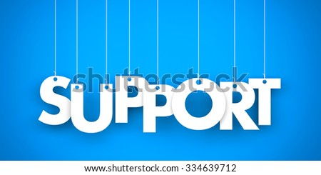Support word - suspended by ropes  - stock photo