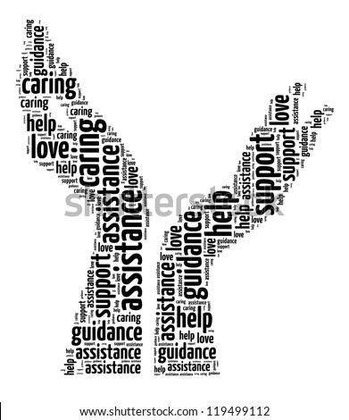 Supporting hands info-text graphic and arrangement concept on white background (word cloud) - stock photo