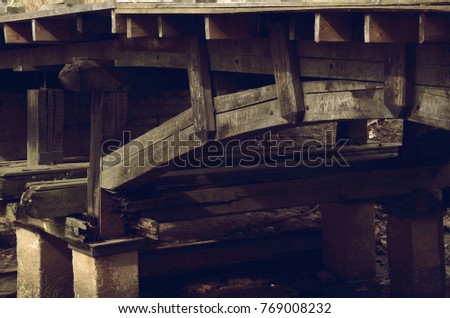 supports of the old wooden bridge