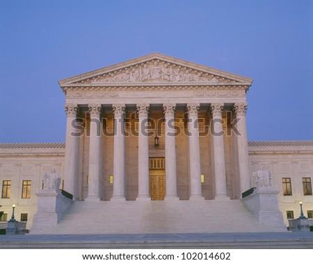 Supreme Court Building at dusk - stock photo