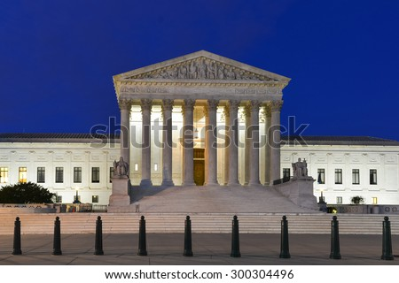 Supreme Court Building,at night in Washington D.C. United States of America  - stock photo