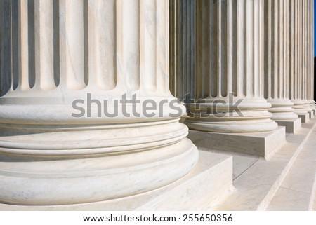Supreme Court of United states columns row in Washington DC - stock photo