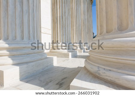 Supreme Court of United states columns row in Washington DC - stock photo
