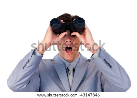 Suprised businessman looking through binoculars against a white background
