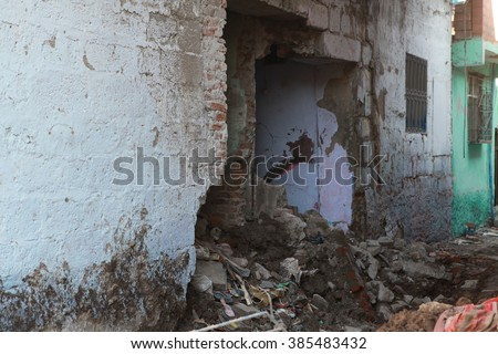 SUR, DIYARBAKIR - FEBRUARY 10: A street is seen just after it was hit by a mortar during clashes between Kurdish protesters and Turkish police. The Photo Taken February 10, 2016. - stock photo