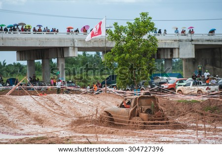 SURATTHANI THAILAND- Aug.9: The off-road racing rally on the hill All of this rally for charity and free fee for everyone. August 9,2015 in Surat thani province,Thailand