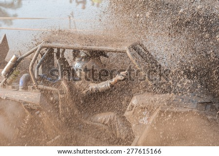 SURATTHANI THAILAND- Jan 25: The off-road racing rally on the hill..All of this rally for charity and free fee for everyone. Jan 25,2015 in Surat thani province,Thailand  - stock photo