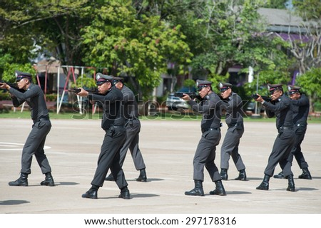 SURATTHANI THAILAND- Jul 13: Polices practice riot controlling using a shield and a truncheon training tactical differentat police training academy. Jul 13, 2015 in suratthani province,Thailand