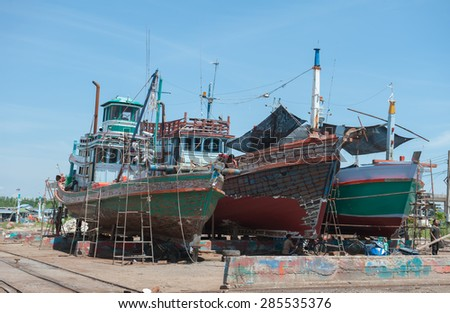 SURATTHANI THAILAND- Jun 5: The shipyard industry that beside gulf of Thailand at Donsak. Jun 5, 2015 in surat thani province,Thailand