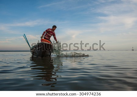 SURATTHANI THAILAND- May 31: Fishermen can catch sea fish fishing throughout the year using Kanchanadit. May 31,2015 in surat thani province,Thailand