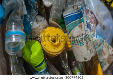 Suratthani,Thailand, May 2,2015: Plastic bottles of various drinks. The waste separation and recycling to get old.