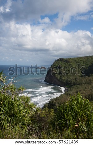 Surf and Cliffs Along Hawaii Coast