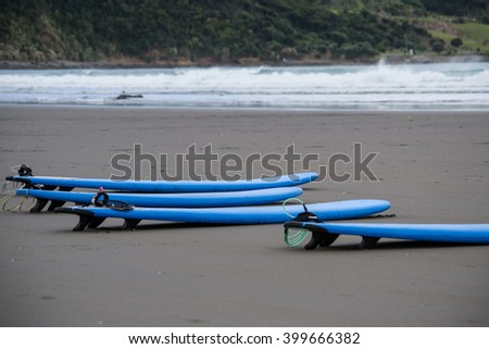 Surf boards on a beach