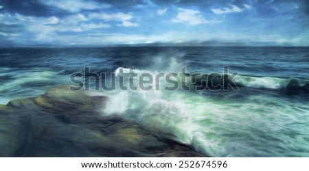 Surf Crashing on the Rocks - stock photo