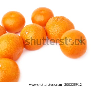 Surface covered with multiple orange ripe fresh juicy tangerines, composition isolated over the white background - stock photo